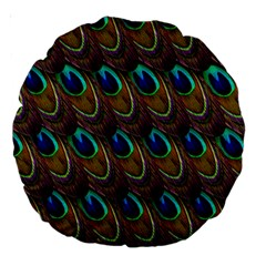 Peacock Feathers Bird Plumage Large 18  Premium Round Cushions