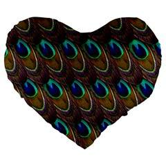Peacock Feathers Bird Plumage Large 19  Premium Flano Heart Shape Cushions by Nexatart