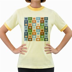Fabric Textile Textures Cubes Women s Fitted Ringer T Shirts