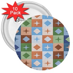 Fabric Textile Textures Cubes 3  Buttons (10 Pack)