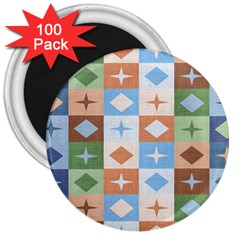 Fabric Textile Textures Cubes 3  Magnets (100 Pack)
