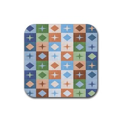 Fabric Textile Textures Cubes Rubber Square Coaster (4 Pack)