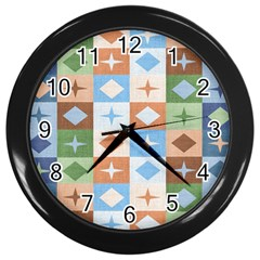Fabric Textile Textures Cubes Wall Clocks (black)