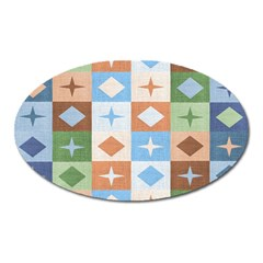 Fabric Textile Textures Cubes Oval Magnet