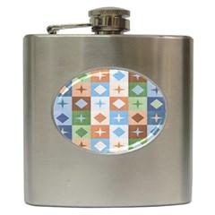 Fabric Textile Textures Cubes Hip Flask (6 Oz)