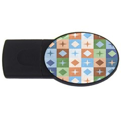 Fabric Textile Textures Cubes Usb Flash Drive Oval (2 Gb)