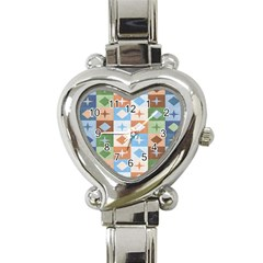 Fabric Textile Textures Cubes Heart Italian Charm Watch