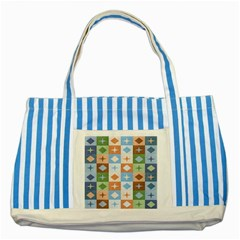Fabric Textile Textures Cubes Striped Blue Tote Bag
