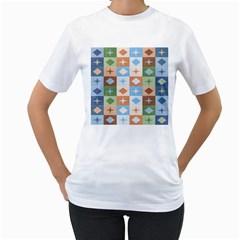 Fabric Textile Textures Cubes Women s T Shirt (white)