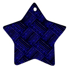 Cobalt Blue Weave Texture Star Ornament (two Sides)