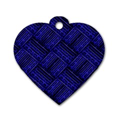 Cobalt Blue Weave Texture Dog Tag Heart (one Side)