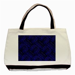Cobalt Blue Weave Texture Basic Tote Bag (two Sides)