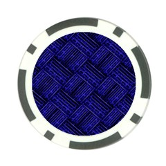 Cobalt Blue Weave Texture Poker Chip Card Guard