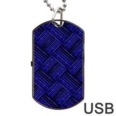 Cobalt Blue Weave Texture Dog Tag Usb Flash (two Sides)