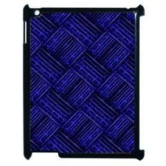 Cobalt Blue Weave Texture Apple Ipad 2 Case (black) by Nexatart