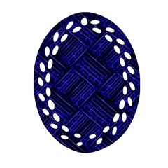 Cobalt Blue Weave Texture Oval Filigree Ornament (two Sides)