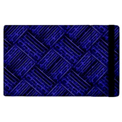 Cobalt Blue Weave Texture Apple Ipad 2 Flip Case