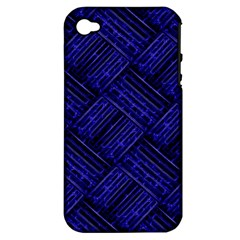 Cobalt Blue Weave Texture Apple Iphone 4/4s Hardshell Case (pc+silicone)