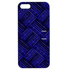 Cobalt Blue Weave Texture Apple Iphone 5 Hardshell Case With Stand