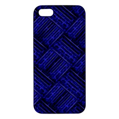 Cobalt Blue Weave Texture Apple Iphone 5 Premium Hardshell Case