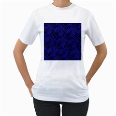 Cobalt Blue Weave Texture Women s T Shirt (white)