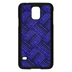 Cobalt Blue Weave Texture Samsung Galaxy S5 Case (black)