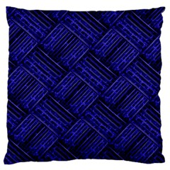 Cobalt Blue Weave Texture Standard Flano Cushion Case (two Sides)