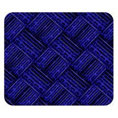 Cobalt Blue Weave Texture Double Sided Flano Blanket (small)