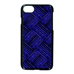 Cobalt Blue Weave Texture Apple Iphone 7 Seamless Case (black)