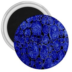 Neon Abstract Cobalt Blue Wood 3  Magnets