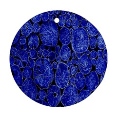 Neon Abstract Cobalt Blue Wood Ornament (round)