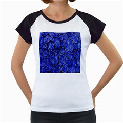 Neon Abstract Cobalt Blue Wood Women s Cap Sleeve T