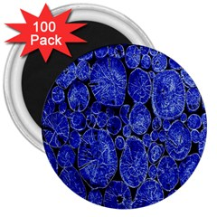 Neon Abstract Cobalt Blue Wood 3  Magnets (100 Pack)
