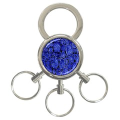 Neon Abstract Cobalt Blue Wood 3 Ring Key Chains