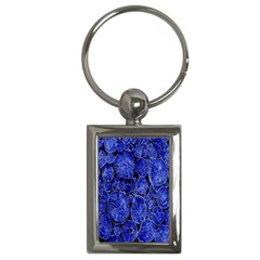Neon Abstract Cobalt Blue Wood Key Chains (rectangle)