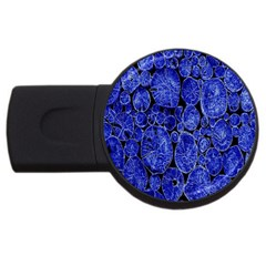 Neon Abstract Cobalt Blue Wood Usb Flash Drive Round (2 Gb)