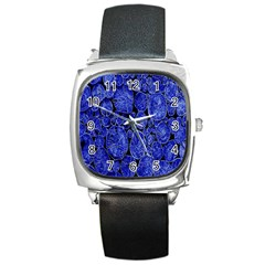 Neon Abstract Cobalt Blue Wood Square Metal Watch