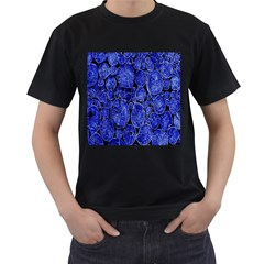 Neon Abstract Cobalt Blue Wood Men s T Shirt (black) (two Sided)