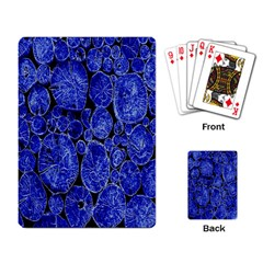 Neon Abstract Cobalt Blue Wood Playing Card