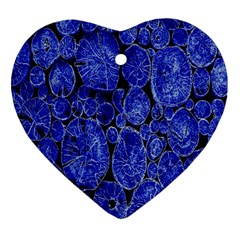 Neon Abstract Cobalt Blue Wood Heart Ornament (two Sides)
