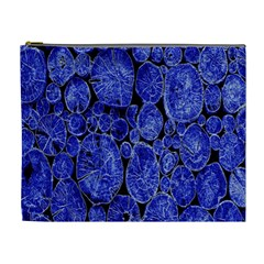 Neon Abstract Cobalt Blue Wood Cosmetic Bag (xl)
