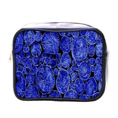 Neon Abstract Cobalt Blue Wood Mini Toiletries Bags