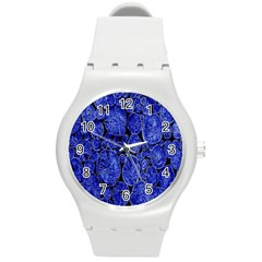 Neon Abstract Cobalt Blue Wood Round Plastic Sport Watch (m)