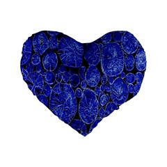 Neon Abstract Cobalt Blue Wood Standard 16  Premium Heart Shape Cushions