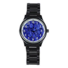 Neon Abstract Cobalt Blue Wood Stainless Steel Round Watch