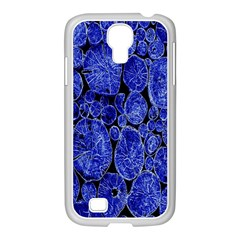 Neon Abstract Cobalt Blue Wood Samsung Galaxy S4 I9500/ I9505 Case (white)