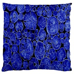 Neon Abstract Cobalt Blue Wood Large Flano Cushion Case (one Side)