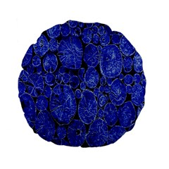 Neon Abstract Cobalt Blue Wood Standard 15  Premium Flano Round Cushions by Nexatart