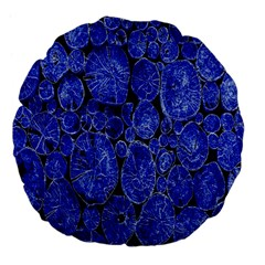 Neon Abstract Cobalt Blue Wood Large 18  Premium Flano Round Cushions