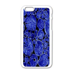 Neon Abstract Cobalt Blue Wood Apple Iphone 6/6s White Enamel Case